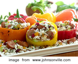 Chicken Apple Sausage and Rice Stuffed Peppers
